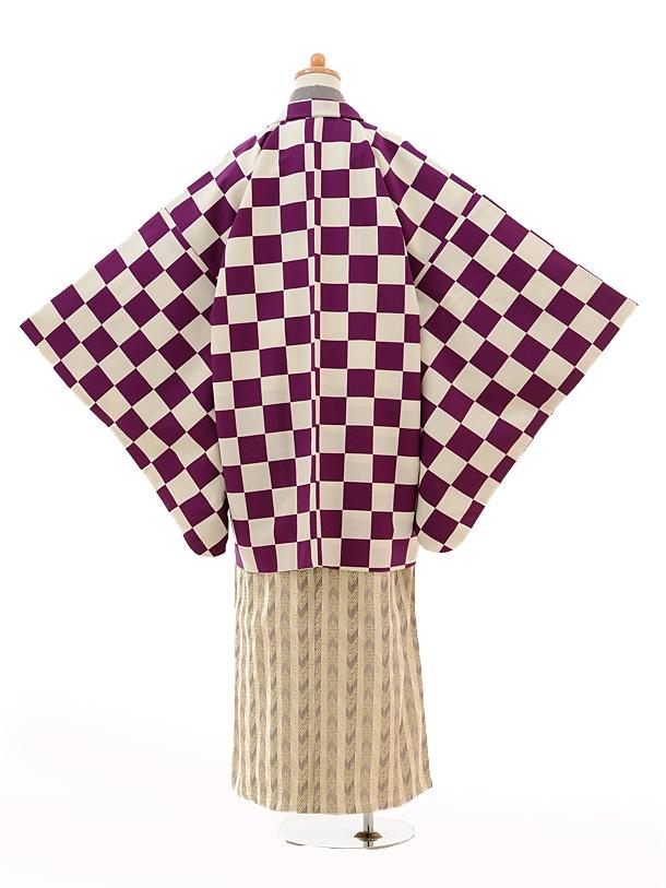 小学生卒業式袴男児0995紫市松×ベージュ縞袴