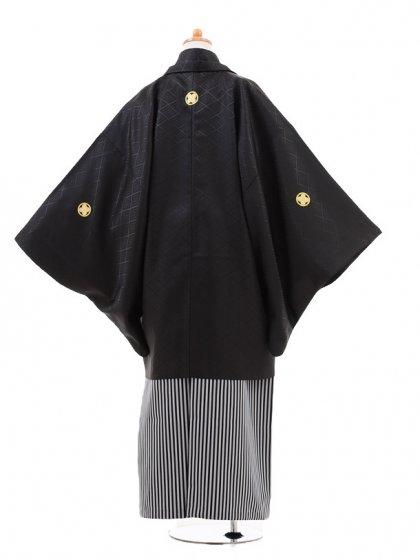 小学生卒業式袴男児0967黒紋付×黒グレ‐縞