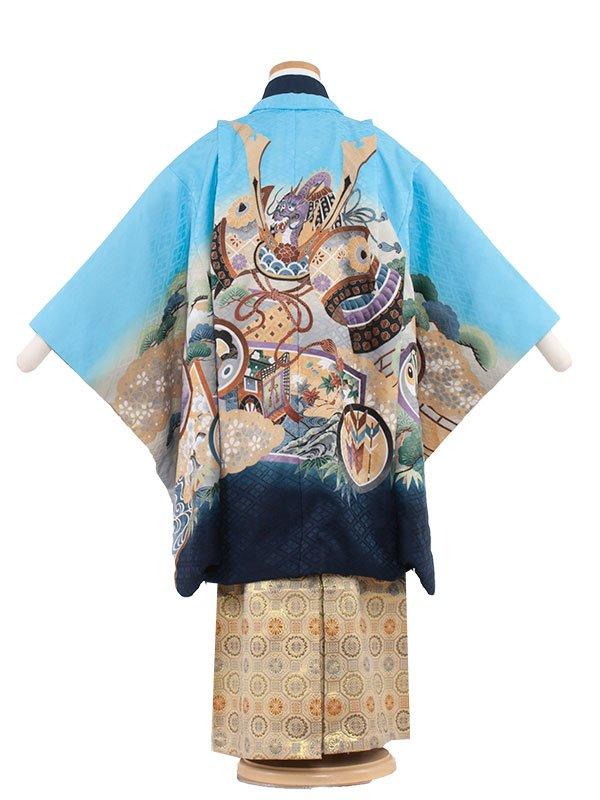 七五三(5男)5147-2 水色/兜に丸紋