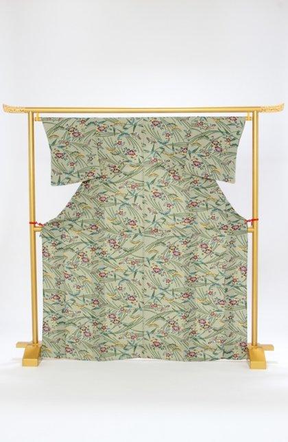 小紋(単衣)67老竹色 紅型染