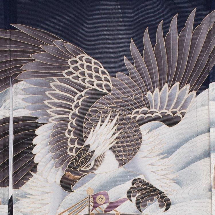 お宮参り男児73(正絹)紺地/鷹と波