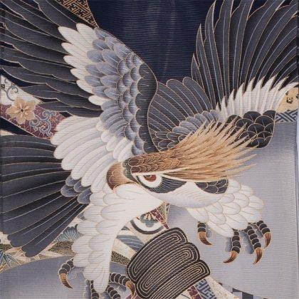 男児産着75(正絹)紺地/鷹と束熨斗