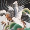 男児産着68(正絹)黒地/鷹と緑松