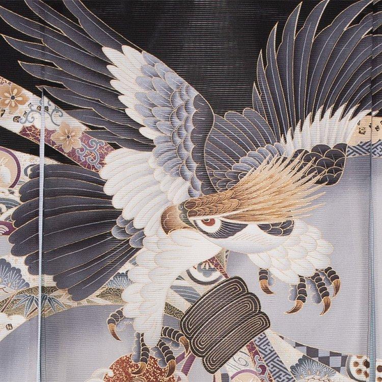 お宮参り男児70(正絹)黒地/鷹と束のし