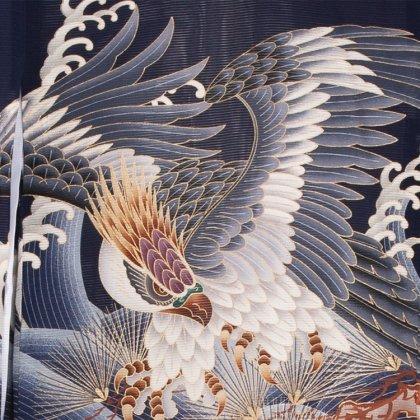 男児産着77(正絹)紺地/鷹と金針松