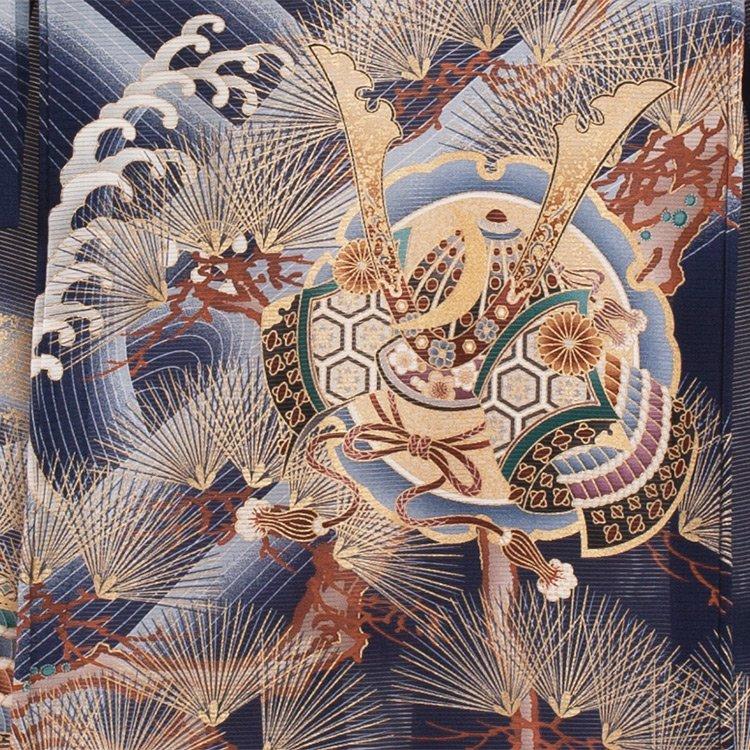 お宮参り男児77(正絹)紺地/鷹と金針松