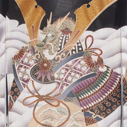 お宮参り男児72(正絹)黒地/兜と波