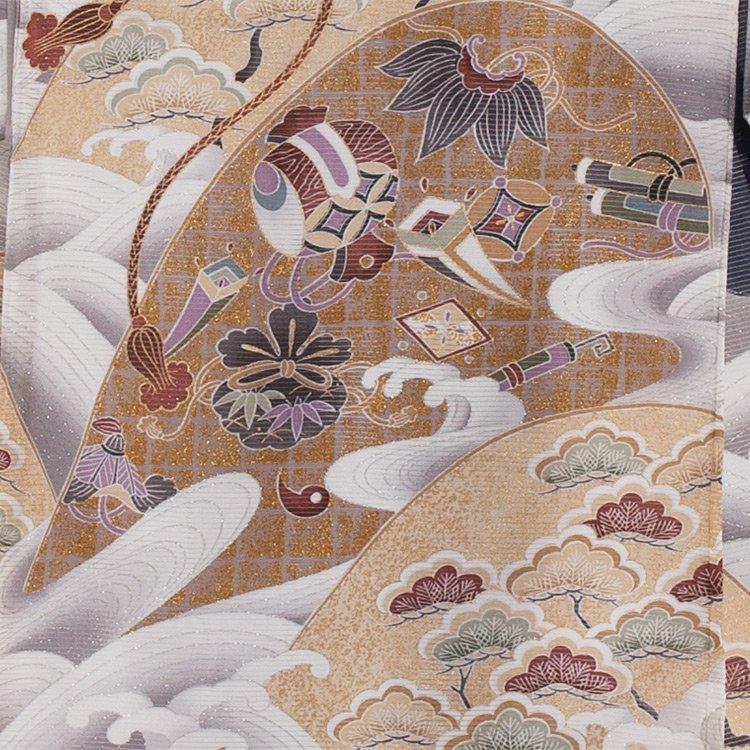お宮参り男児71(正絹)紺地/兜と波