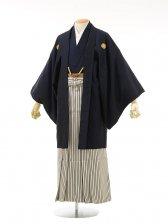 男性用袴men0034紺ラメ紋付×白黒ラメ縞(M)