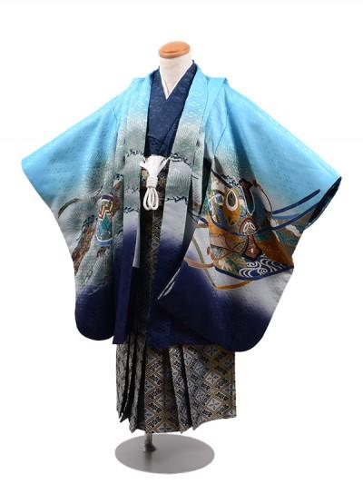 七五三 5歳男袴 兜 松 水色