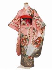 振袖2103振袖ピンク地蝶と藤