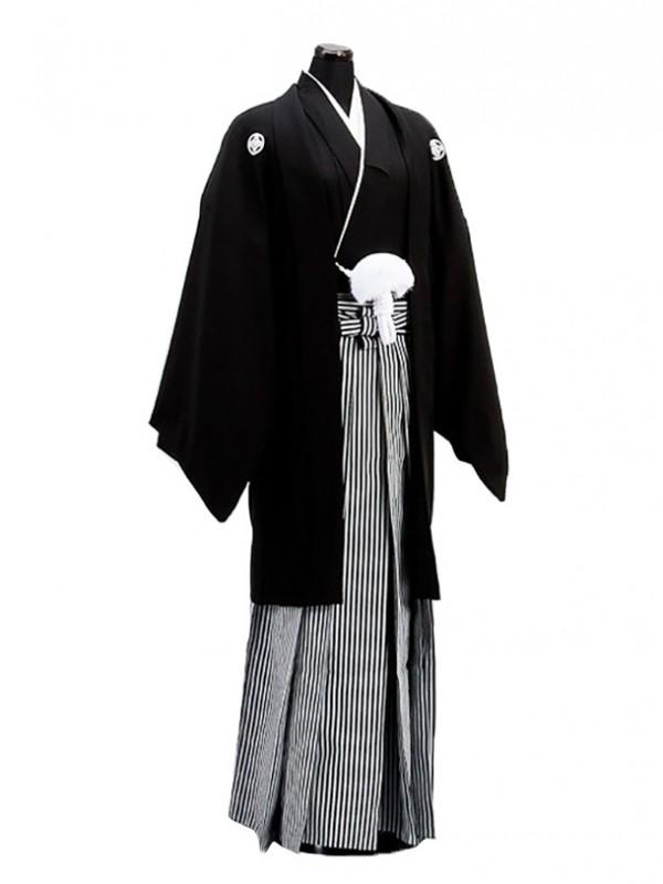 卒業式成人式袴男レンタル128*7/正絹黒紋付袴