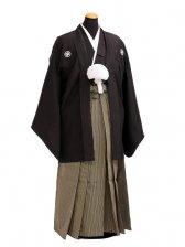 卒業式成人式袴男レンタル088*3/黒紋付/ウグイス色