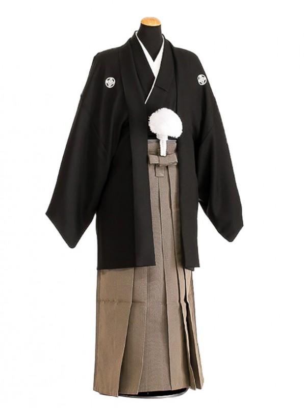 卒業式成人式袴レンタル136*5正絹黒紋付/地味袴