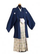卒業式成人式袴男レンタル068*3/紺/金浅緑菱紋