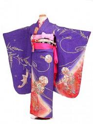 七五三レンタル(7歳女結び帯)振袖sftf064紫/大雪輪