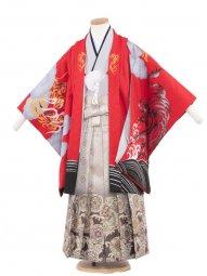 七五三・卒園式袴レンタル(5男)5080 赤/勇寅と龍