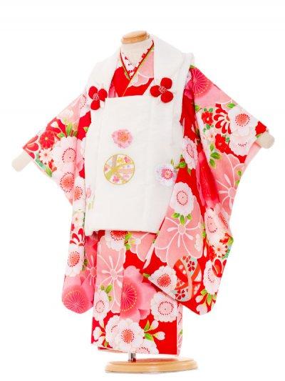 七五三レンタル(3歳女の子被布)3199 赤色×花ひめ