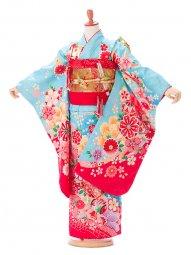 七五三7歳7910花うさぎ 水色桜赤ぼかし桜