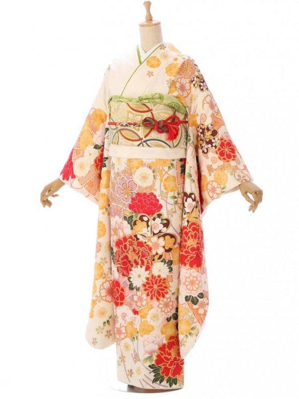 振袖1s1609オフ白 檜扇に牡丹 桜