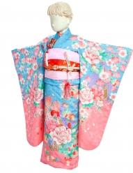 七五三(7女)7-7青×ピンク・花とりす