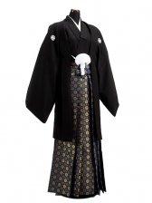 卒業式成人式袴男レンタル025-4/黒紋付/金菊袴
