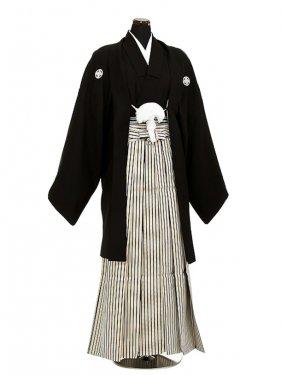 卒業式成人式袴男レンタル046-8/黒/濃紺金縞袴