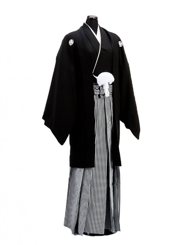 卒業式成人式袴男レンタル001-7/黒紋付羽織袴