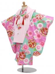 七五三(3歳女被布)3045 水色地に鞠と桜