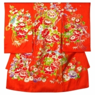 女児産着レンタル 0009オレンジ花ゴールド刺繍
