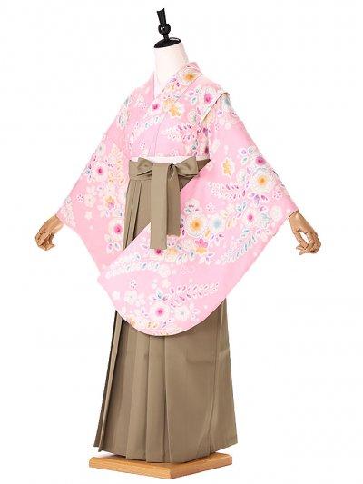 小学生卒業式袴レンタル(女の子) ピンク辻が花 9236