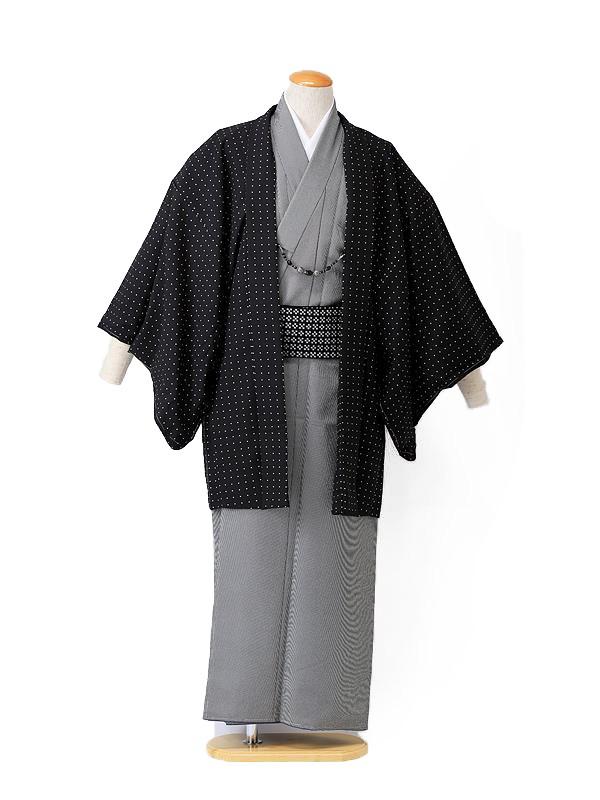【着流し】羽織着物 黒ドット HANAE MORI 4号
