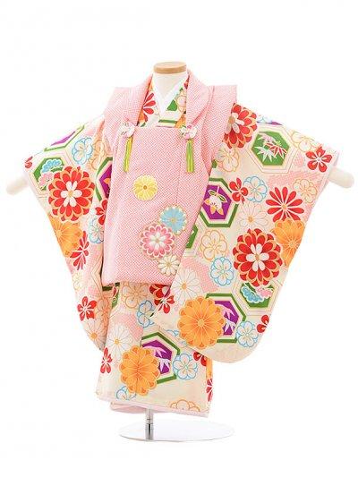 七五三レンタル(3歳女の子被布)3183ひいなピンク×クリーム