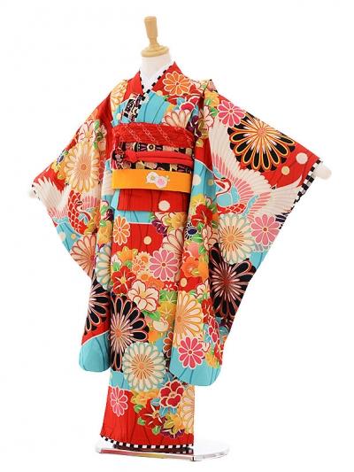 七五三レンタル(7歳女の子結び帯)7414 JAPAN STYLE 赤地菊
