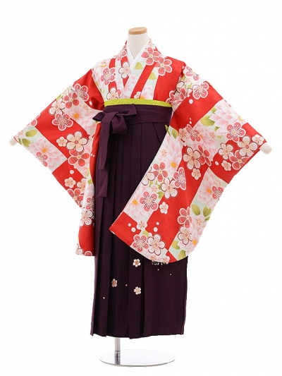 小学生卒業式袴レンタル(女の子)9649白赤梅×パープル丸桜袴
