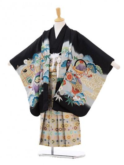 七五三レンタル(5歳男の子袴)5170黒地かぶとに巻物白糸