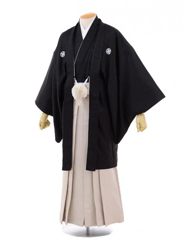 成人式卒業式袴レンタル(男)D013黒ジャガード紋付
