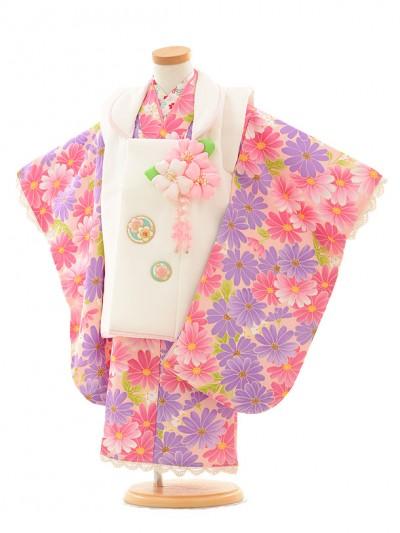 七五三(3歳女被布)3193 ピンクパープル小花