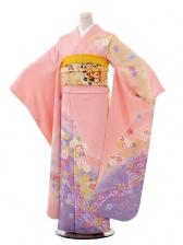 振袖F007ピンク地裾紫流水花