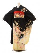振袖E062 黒裾黄ぼかし花雪輪