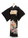 黒留袖5243祝い花に孔雀