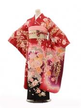 振袖E093 赤地裾黒藤と花