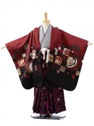 七五三レンタル(5男袴)0596ワインレッド多柄