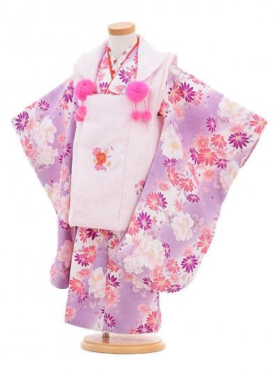 七五三レンタル(3歳女の子被布)3292ピンクファーボンボン×薄紫花