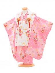 753レンタル(3歳女被布)0363ピンク×白小花