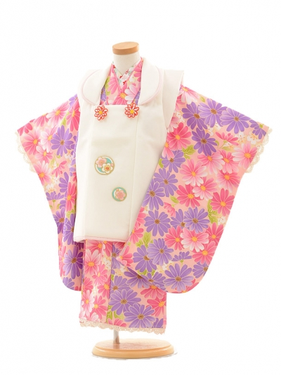 七五三レンタル(3歳女の子被布)3191白×ピンクパープル小花