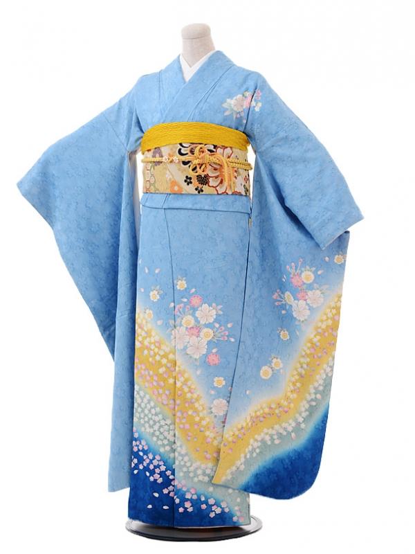 振袖F010水色裾ブルー桜