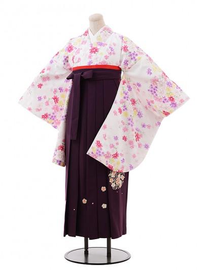 卒業袴レンタル h236 白地 小菊×パープル袴