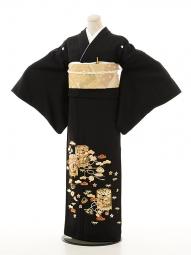 黒留袖レンタルQ4-77手刺繍貝桶