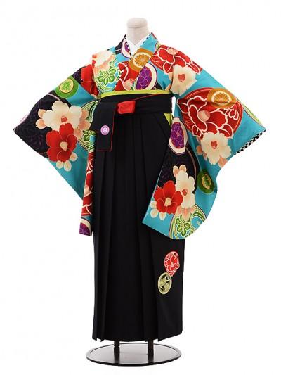 卒業袴レンタル h213 JAPAN STYLE×中村里砂 ターコイズ×黒